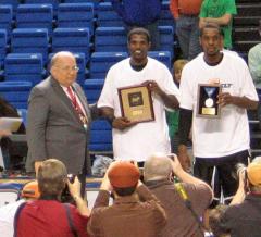MVP Eric Tramiel and All-Tournament player George Odufuwa