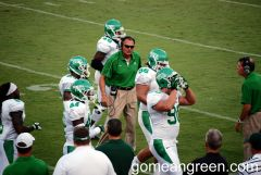 Coach Mac encourages the defense after 1st series