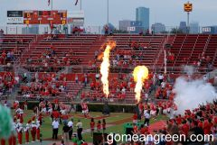 Flames as Cougars enter the field