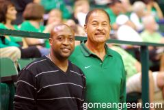 Coach Nick Smith and UNT Hall of Famer Willie Davis