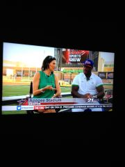 Sarge McCoy with Gina Miller from Channel 21 at Apogee