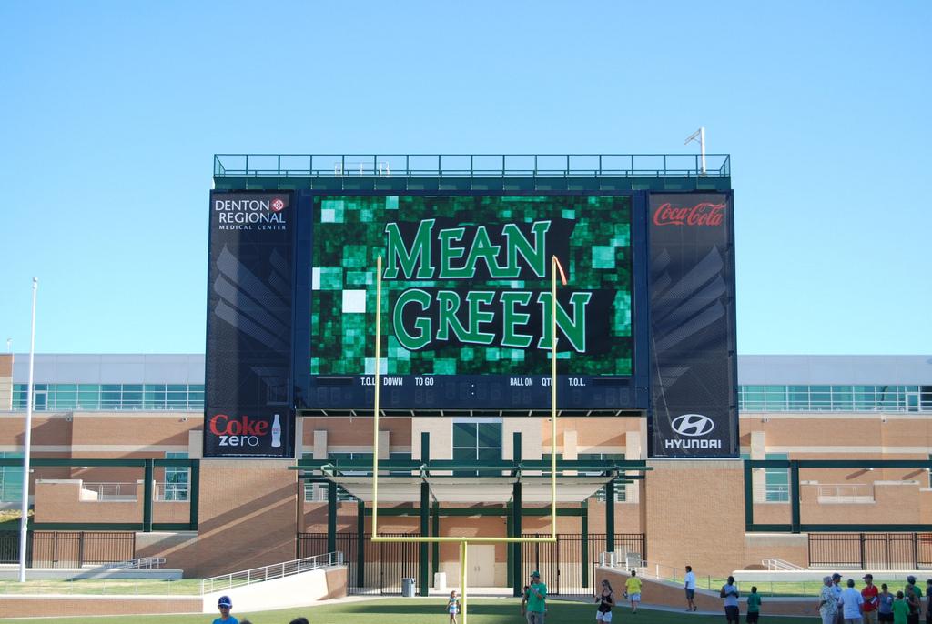 Main Scoreboard closeup 2011 UNT Mean Green Stadium