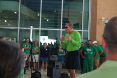 Coach Mac gets the crowd going 2011 UNT Stadium Opening
