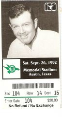 1992 Texas vs North Texas ticket stub