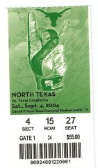 2004 Texas vs North Texas ticket stub