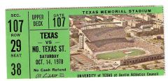 1978 Texas vs North Texas ticket stub
