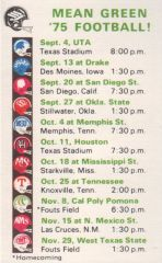 1975 Mean Green College schedule card