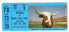 1981 Texas vs North Texas ticket stub