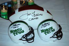 Mean Joe signed helmets And ball