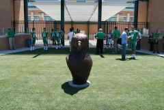 UNT New Bronze Eagle Head Statue in Mean Green Stadium