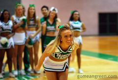 UNT Cheer shooting from halfcourt (almost)