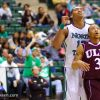 ULM player tries to block out North Texas