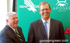UNT AD Rick Villarreal and Conference USA Commissioner Britton Banowsky