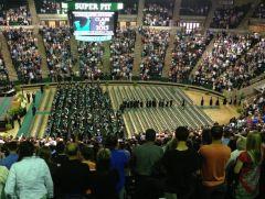 UNT Super Pit scoreboard at 2013 graduation