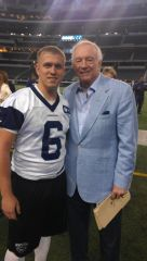 UNT's Will Atterberry and Jerry Jones of the Dallas Cowboys