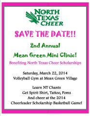 Save The Date UNT Cheer Clinic 2014