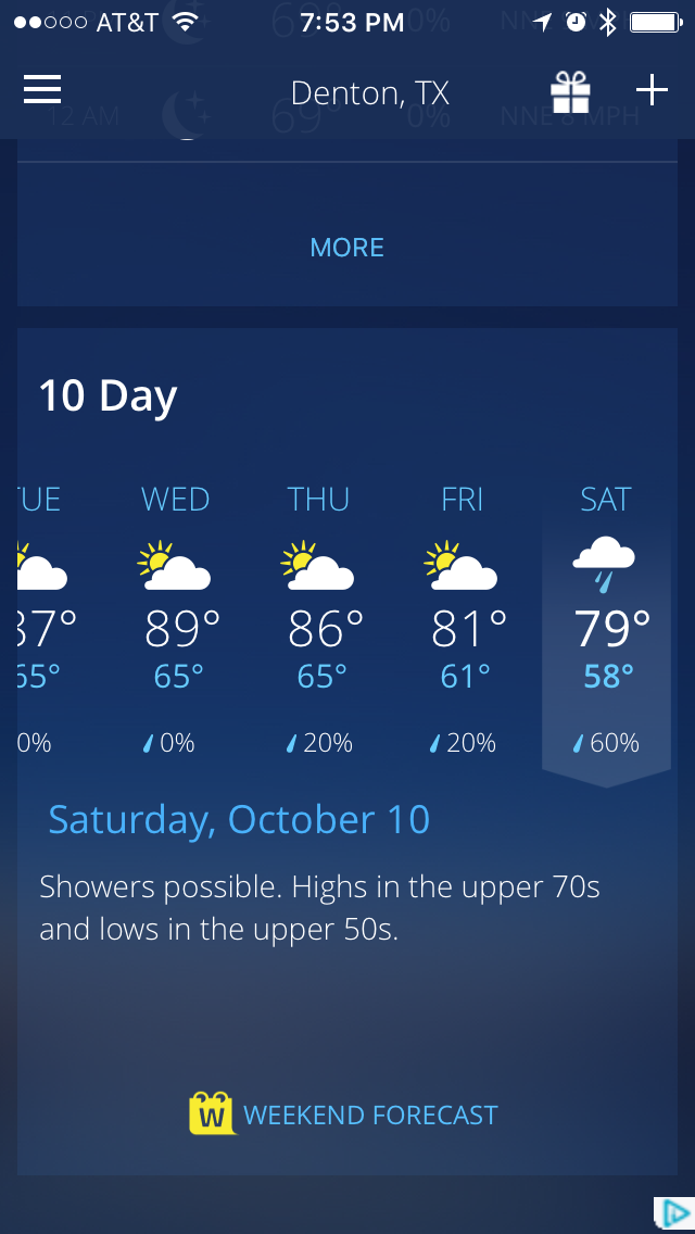 Homecoming Forecast