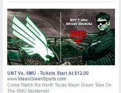 Facebook Ad for SMU Game