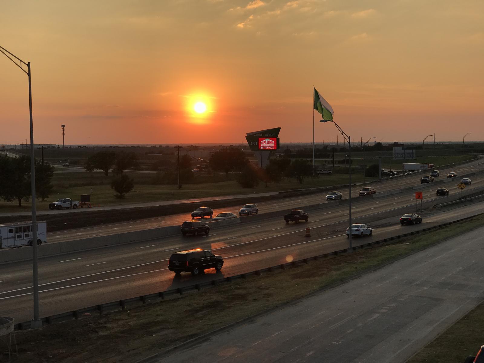 New UNT Battle Flag at Dusk